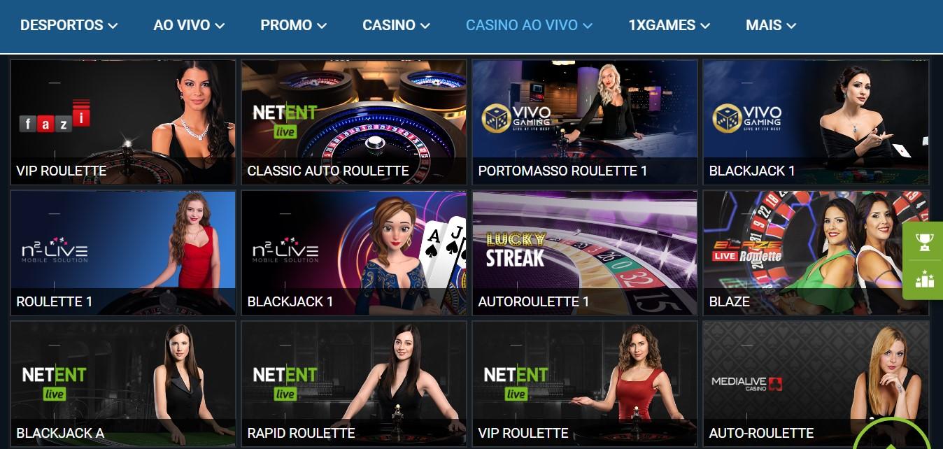 Opções na seara dos casinos 1xBet live