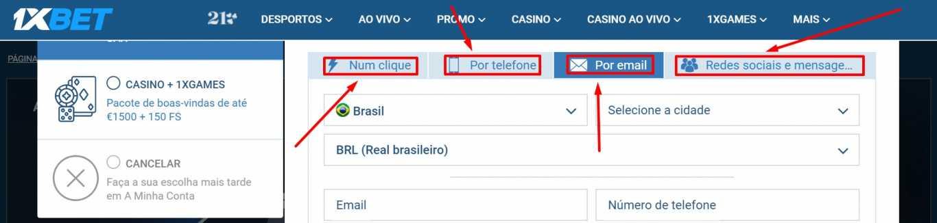 Como escolher dentre as modalidades de registo 1xBet Brasil